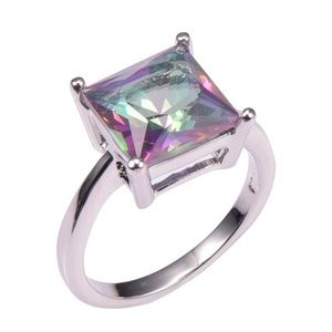 925 Sterling Silver- Rose Rainbow Topaz Ring- s7